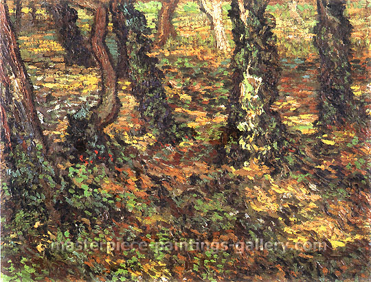 Vincent van Gogh, Tree Trunks with Ivy 2, 1889, oil on canvas, 17.7 x 23.6 in. / 45 x 60 cm, US$350