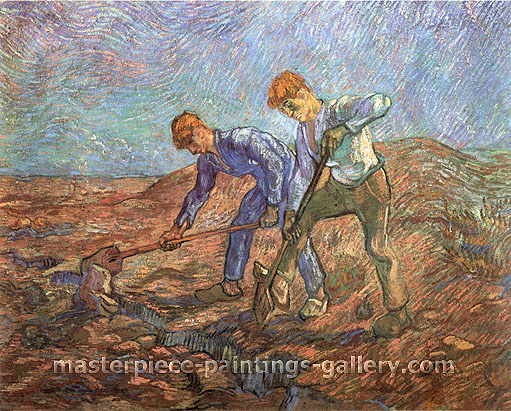 Vincent van Gogh, Two Peasants Digging, 1889, oil on canvas, 28.3 x 36.2 in. / 72 x 92 cm, US$550