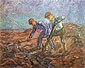 Vincent van Gogh, Two Peasant Digging, 1889, oil on canvas, 28.3 x 36.2 in. / 72 x 92 cm, US$260