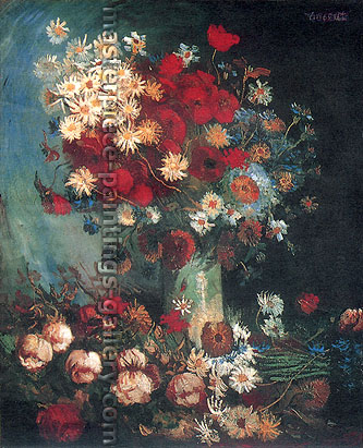 Vincent van Gogh, Vase with Poppies, Cornflowers, Peonies and Chrysanthemums | Vase with Poppies, Daisies, Corn-flowers and Peonies, 1886, (JH 1103) oil on canvas, 39 x 31.1 in. / 99 x 79 cm, US$320