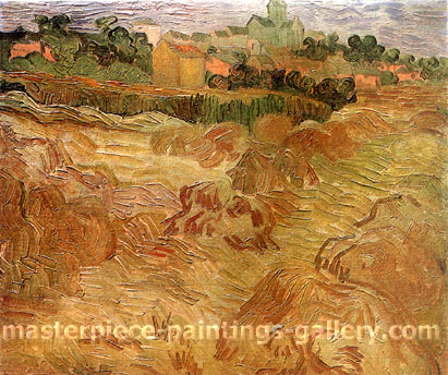 Vincent van Gorh, Wheat Fields with Auvers in the Background, 1890, oil on canvas, 16.9 x 19.7 in. / 43 x 50 cm, US$330