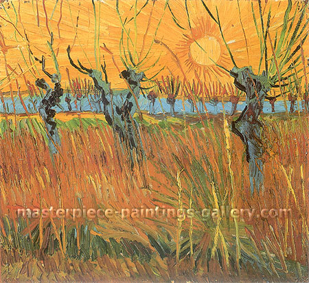 Vincent van Gogh, Willows at Sunset | Pollard Willows at Sunset, 1888, JH 1597, oil on canvas, 17.7 x 19.4 in. / 45 x 49.3 cm, US$300