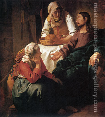 Jan Vermeer, Christ in the House of Mary & Martha, 1654-1655, oil on canvas, 32 x 28.4 in / 81.3 x 72.1 cm, US$300