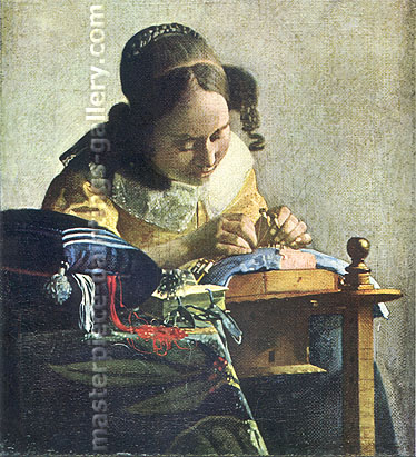 Jan Vermeer, The Lacemaker, 1665, oil on canvas, 23.6 x 20.7 in. / 60 x 52.5 cm, US$340