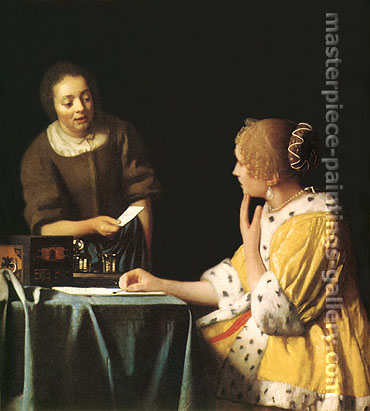 Jan Vermeer, Servant Handing a Letter to Her Mistress | Lady with Her Maidservant, 1667-1668, oil on canvas, 35.2 x 30.7 in. / 89.5 x 78.1 cm, US$400