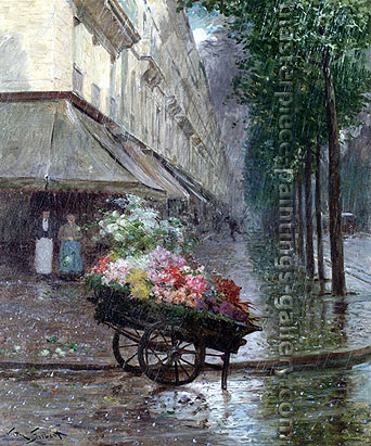 Victor Gabriel Gilbert, The Rainshower | l'Averse, 21.75 x 18.25 in. / 55.2 x 46.4 cm, US$350